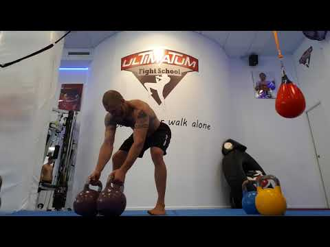 Kettlebell Combo: Clean and jerk (double bell)