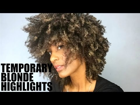 Temporary Blonde Highlights on Natural Afro Hair