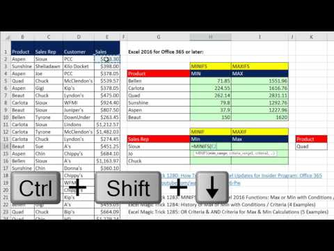 Excel Magic Trick 1283: MINIFS & MAXIFS Excel 2016 Functions: Max or Min with Conditions / Criteria