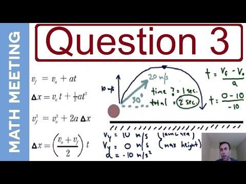 Projectile Motion - 2 dimensional kinematics (question 3)