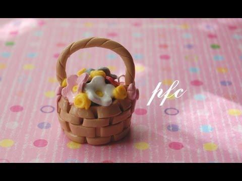 DIY Basket of Flowers Polymer Clay Charm Tutorial