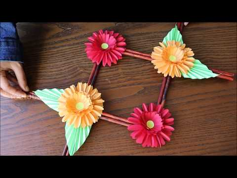 Paper Flower Wall Hanging - DIY - Hanging Paper Flower  - Wall Decoration ideas