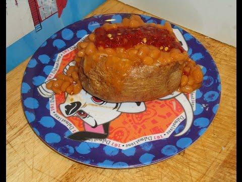 cheesy baked potato with cheesy baked beans