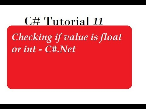 How to Check Number is Integer Or Float in C#