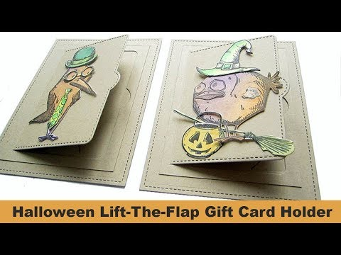 Halloween- Lift-the-flap Lawn Fawn Gift Card Holder with Tim Holtz Crazy Birds Stamp and Dies