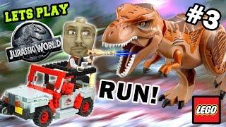 Lets Play LEGO Jurassic World Part 3: RUN FROM THE T-REX!!!! PARK SHUTDOWN! (FGTEEV GAMEPLAY)