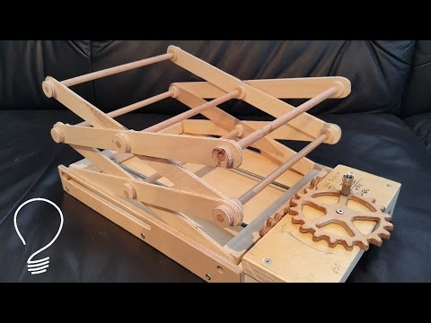 Homemade Scissor Lift (Using Wooden Gears)