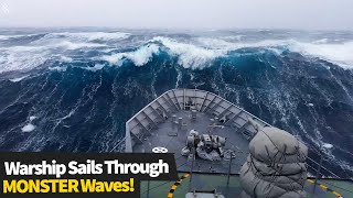 Sailors react as their warship is smashed by MONSTER waves