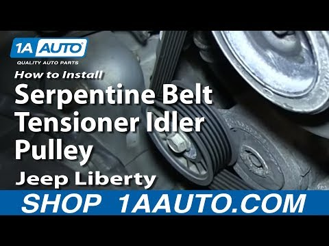 How To Install Replace Serpentine Belt Tensioner Idler Pulley 3.7L 2004-13 Jeep Liberty