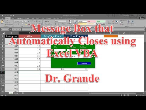 Message Box that Automatically Closes After Specified Period of Time using Excel VBA