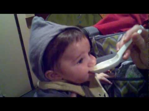 Daniel eating onion soup.