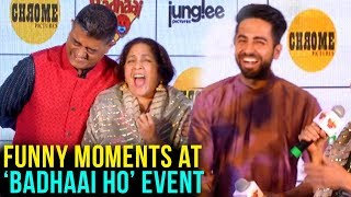 Ayushmann Khurrana, Sanya Malhotra, Neena Gupta FUNNY MOMENTS At Badhaai Ho Event