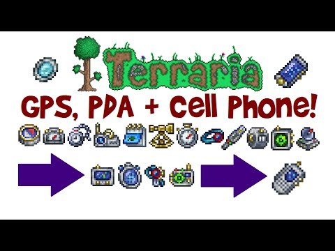 Terraria GPS, PDA & Cell Phone Crafting Guide! (How to get Fish Finder, Goblin Tech & REK 3000, 1.3)