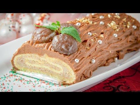 Chocolate Chestnut Bûche de Noël - How to make a Yule Log Cake