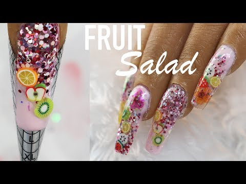 ACRYLIC NAILS WITH ENCAPSULATED FRUIT SLICES | JUICY SUMMER NAIL ART