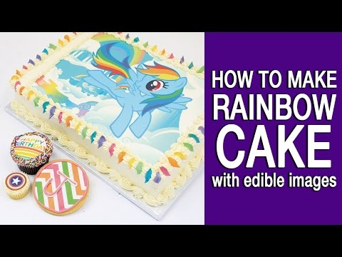 HOW TO MAKE RAINBOW CAKES with EDIBLE IMAGES   DIY#10   可食用彩色打印蛋糕