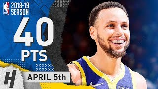 Stephen Curry NASTY Full Highlights Warriors vs Cavaliers 2019.04.05 - 40 Points, 9 Threes!