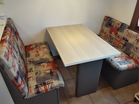 How to transform 4 old chairs into two comfortable kitchen seats + a new table and a recycling bin.