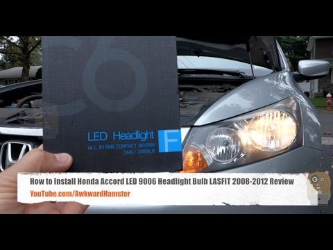 How to Install Honda Accord LED 9006 Headlight Bulb LASFIT 2008-2012 Review