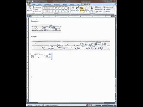 MS Word 2007: Roots/radical/fraction/bracket example