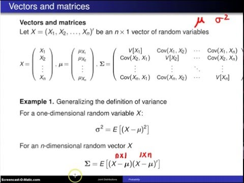 Multivariate distributions:  Matrix representation -- Example 1