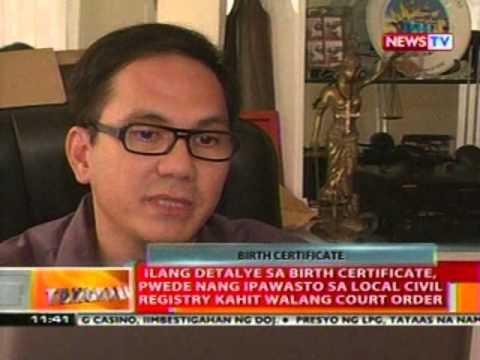 BT: Detalye sa birth certificate, pwedeng ipawasto sa local civil registry kahit walang court order