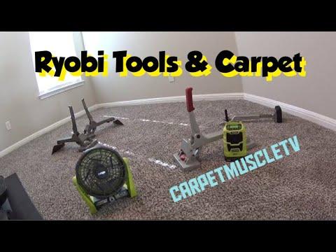 Ryobi 18 V tools and carpet stretching  Carpet VLOG