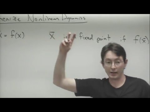 ME564 Lecture 9: Linearization of nonlinear ODEs, 2x2 systems, phase portraits