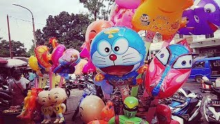 Melihat Balon Upin Ipin,Minions,Doraemon,Pokemon,Nemo