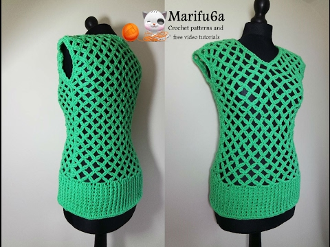 How to crochet easy green mesh top tunic pattern tutorial