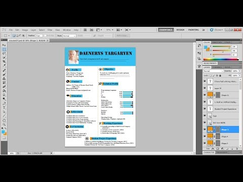 Design Resume using Adobe Photoshop CS5 Tutorial