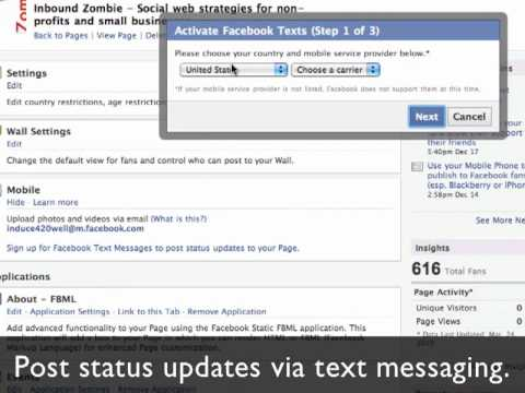 How to update your Facebook Page from your cell phone