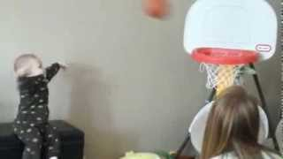Amazing Baby Basketball Video 15 month old playing basketball - makes every shot!