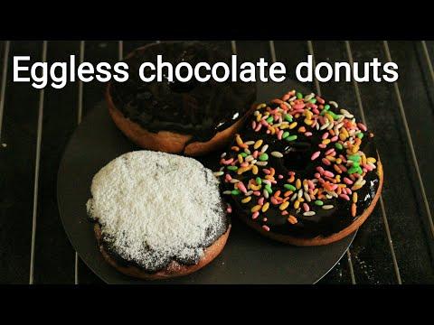 Donut recipe - Eggless Chocolate donuts - Homemade donuts recipe - Doughnuts recipe