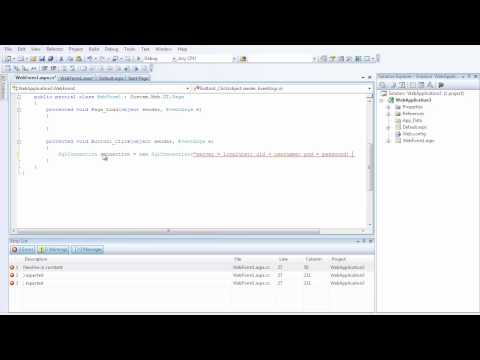 C Sharp C# ASP.net tutorial 2 (Inserting Data into a SQL database