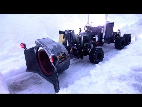 RC ADVENTURES - Rotary Snow Plow / Snow Mover (Test 1 - Night Time)