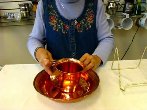 Copper Hand Washing Bowl and Cup - Negel Vasser