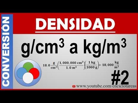 Conversión de g/cm³ a kg/m³ (DENSIDAD)