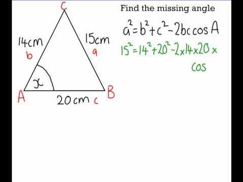 Grade A: Using Cosine Rule to Find a Missing Angle