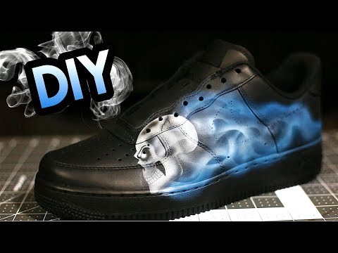 HOW TO: SMOKEY SKULL FLAME YOUR AIR FORCE 1's ! FULL AIRBRUSH TUTORIAL !
