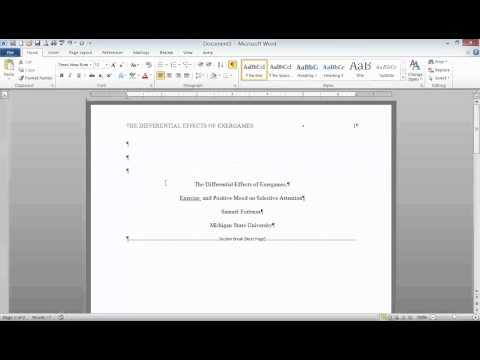 APA Style: Title Page, Running Head, and Section Headings