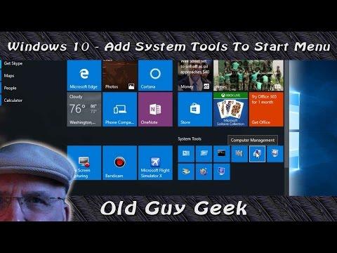 Windows 10 Add System Tools To Start Menu
