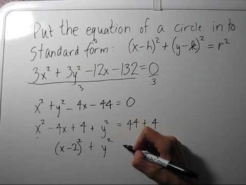 Writing the Equation of a Circle in Standard Form