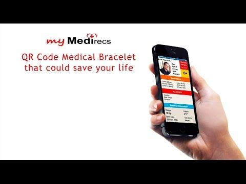 myMedirecs Medical Alert Bracelet with QR code for fast access.