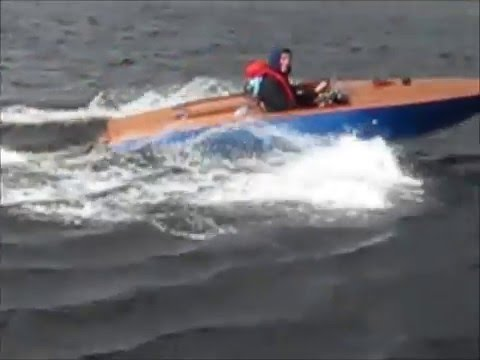 Wooden Boat with jet ski engine.