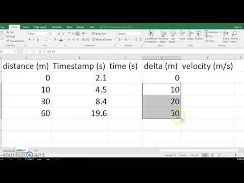 Using Excel to Calculate Velocity