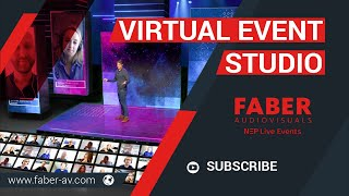 Virtual event studio with interactive live audience