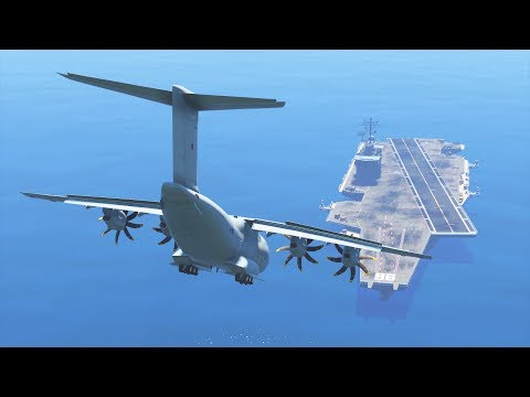GTA 5 - LANDING GIGANTIC RAF A400 ON THE AIRCRAFT CARRIER (GTA 5 Funny Moment)