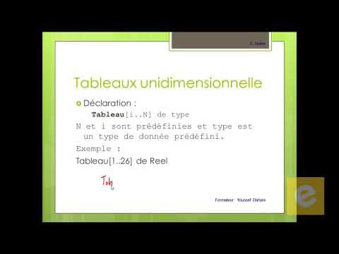12 Algorithmique : Tableaux Unidimensionnelle