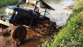 Sonalika DI 47 RX Stuck In Mud Rescued By TATA Hitachi | Tractor Stuck In Deep Mud